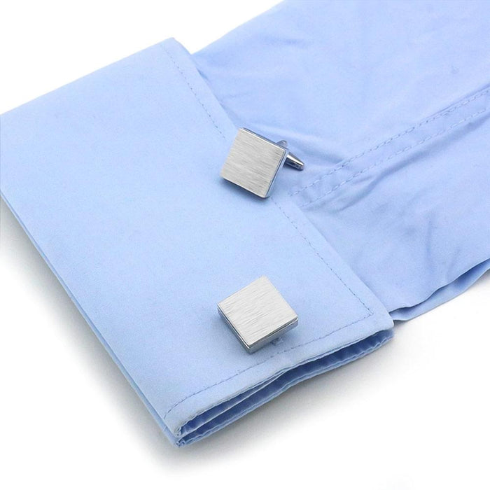 Brushed Silver Square Cufflinks Image On Shirt Sleeve