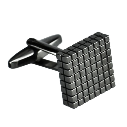 Gunmetal Black Cufflinks Square Checker Grid Image Front