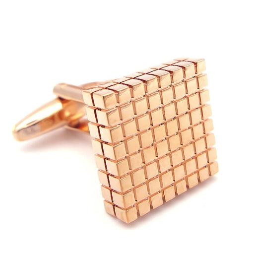Rose Gold Cufflinks Square Checker Grid Image Front