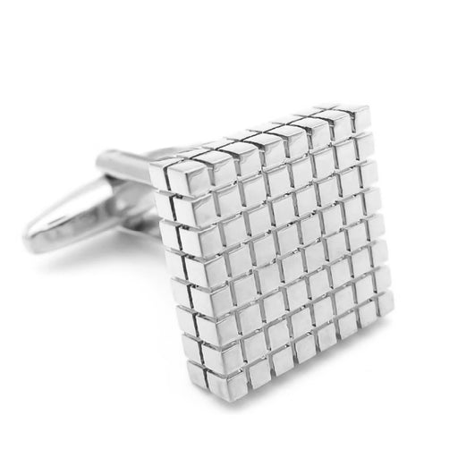 Silver Cufflinks Square Checker Grid Front Image