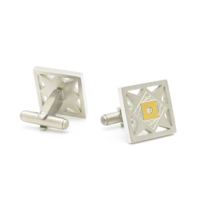 Cufflinks - Silver & Gold Star Pattern (Square) | That Bloke