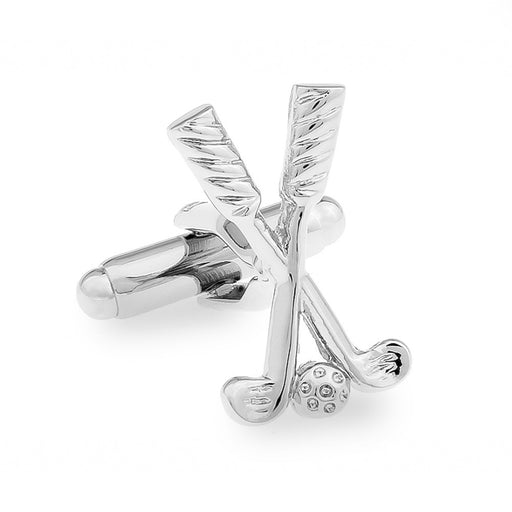 Golf Cufflinks Clubs Ball Silver Image Front