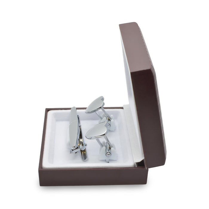 Cufflink & Tie Clip Set - Heart Shaped Half Brushed & Half Polished