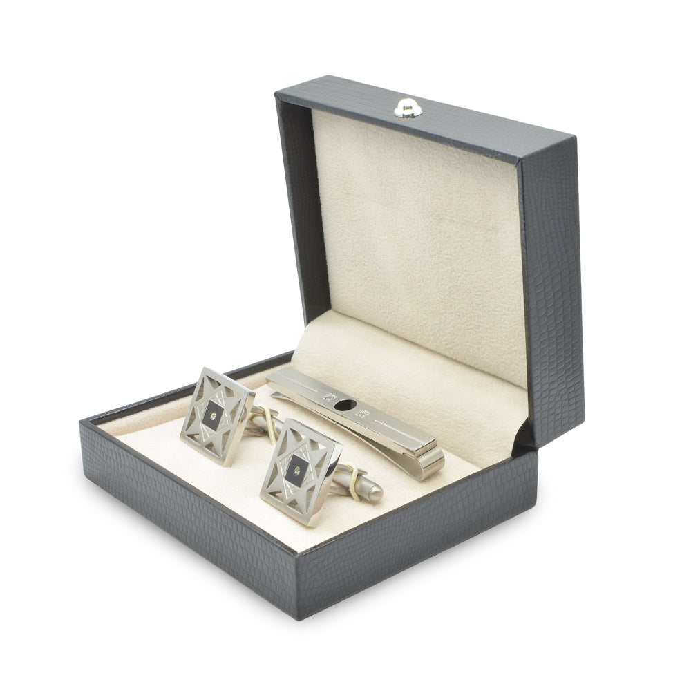 Cufflink & Tie Clip Set - Silver & Black Star Pattern (Square)
