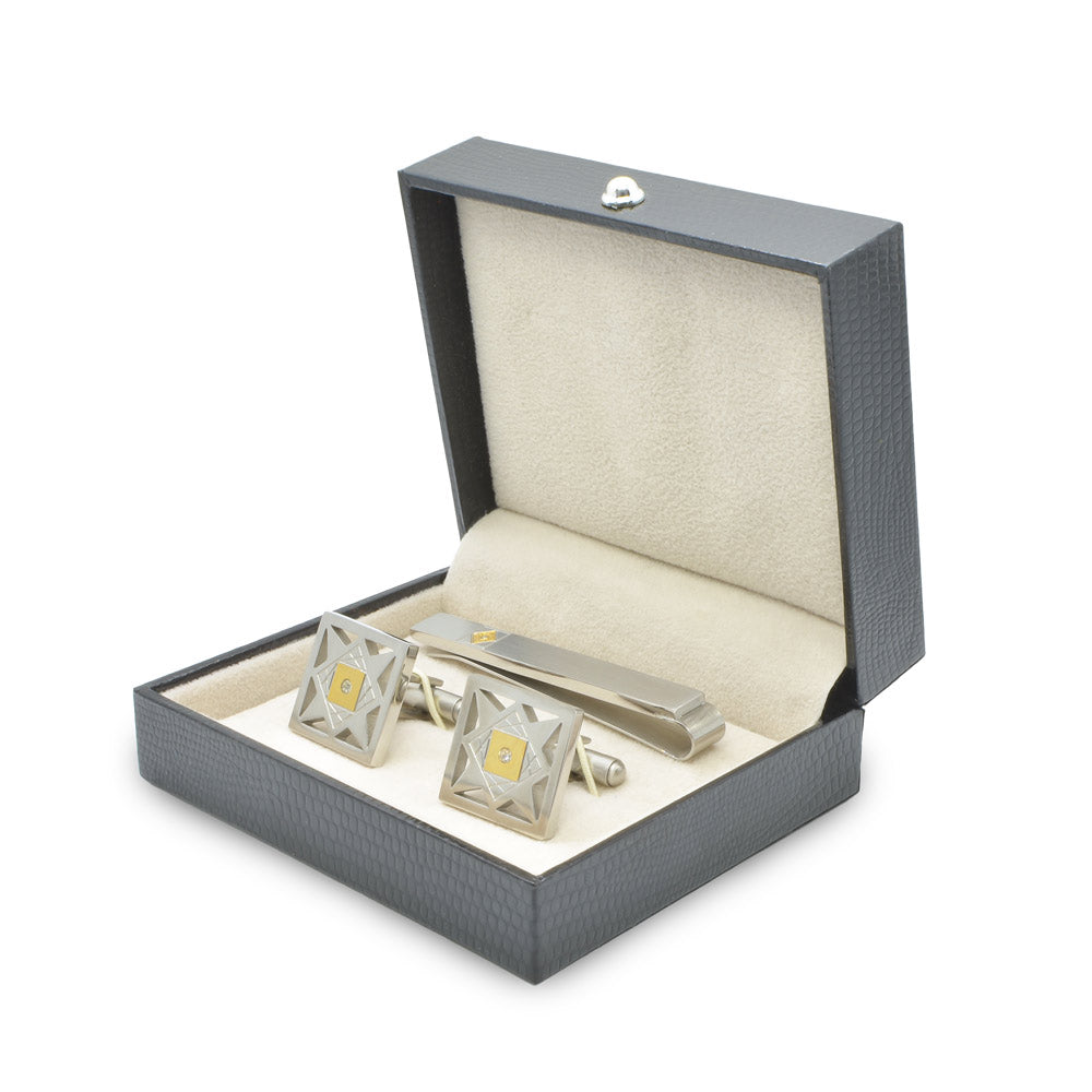 Cufflink & Tie Clip Set - Silver & Gold Star Pattern (Square)