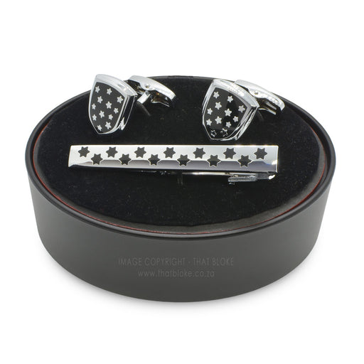 Armour Stars Shield Cufflink and Tie Clip Set Black Silver image Front