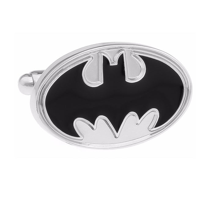 Superhero Batman Cufflinks Black Silver Image Front