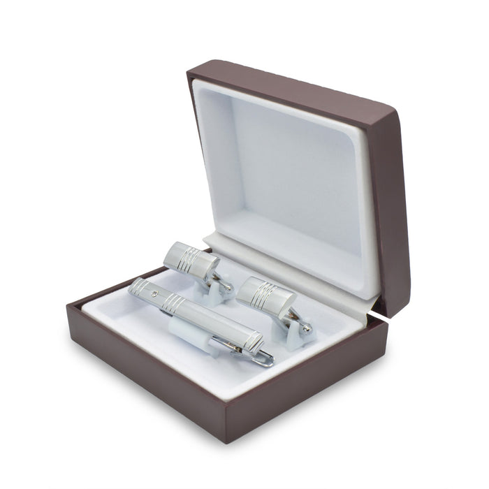 Cufflink & Tie Clip Set - Engraved Lines with Jewel (Rectangular) | That Bloke