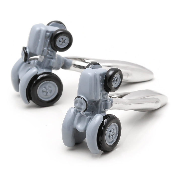 Farm Tractor Cufflinks Grey Pair Set Top Image