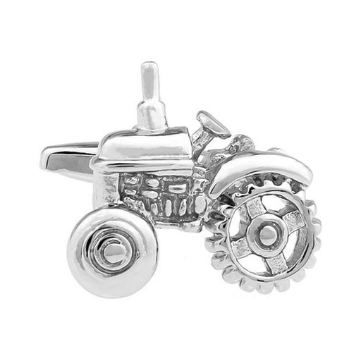 Farm Tractor Cufflinks Silver Front