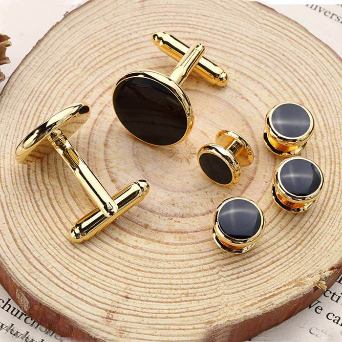 Glossy Black Tuxedo Cufflinks and Shirt Stud Set Gold 6 Piece Image Display
