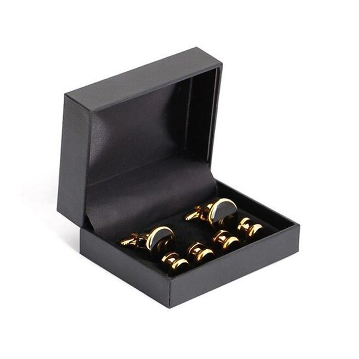 Glossy Black Tuxedo Cufflinks and Shirt Stud Set Gold 6 Piece In Box
