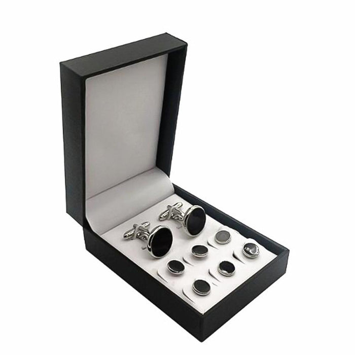 Glossy Black Tuxedo Cufflinks and Shirt Stud Set 8 Piece Silver With Box