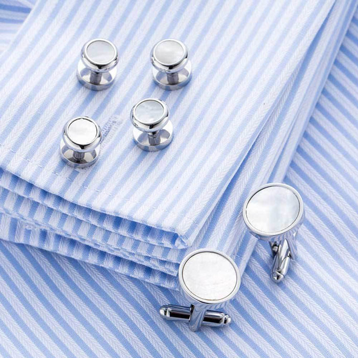 White Pearl Tuxedo Cufflinks and Shirt Stud Set Silver 6 Piece Image On shirt Sleeve