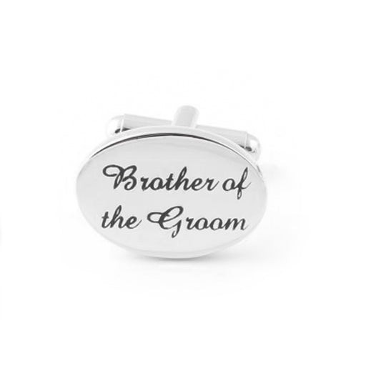 Brother Of The Groom Cufflinks Silver Oval Wedding Image Front