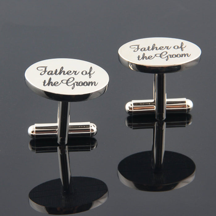 Father Of The Groom Cufflinks Silver Oval Wedding Image Pair