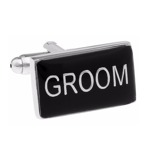 Wedding Groom Cufflinks Black Silver Image Front