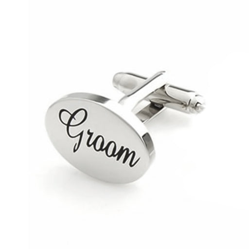 Groom Cufflinks Silver Oval Front