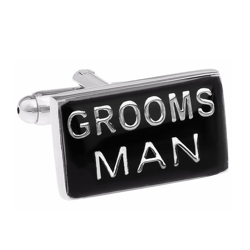 Wedding Groomsman Cufflinks Black Silver Image Front
