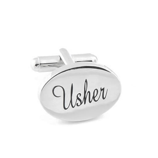 Usher Cufflinks Silver Oval Wedding Front Image