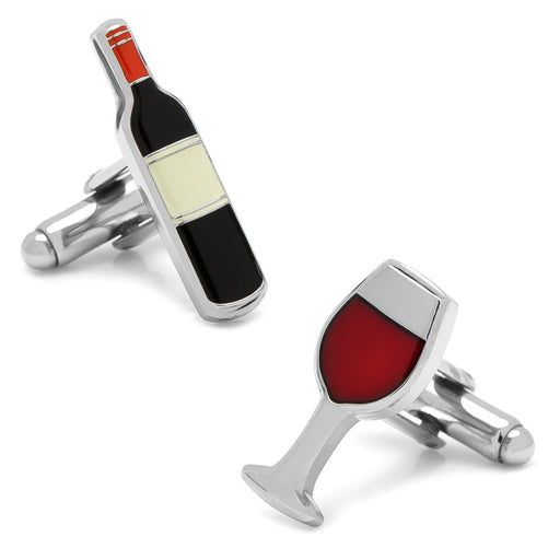 Wine Bottle Cufflinks Glass Silver Image Front Pair