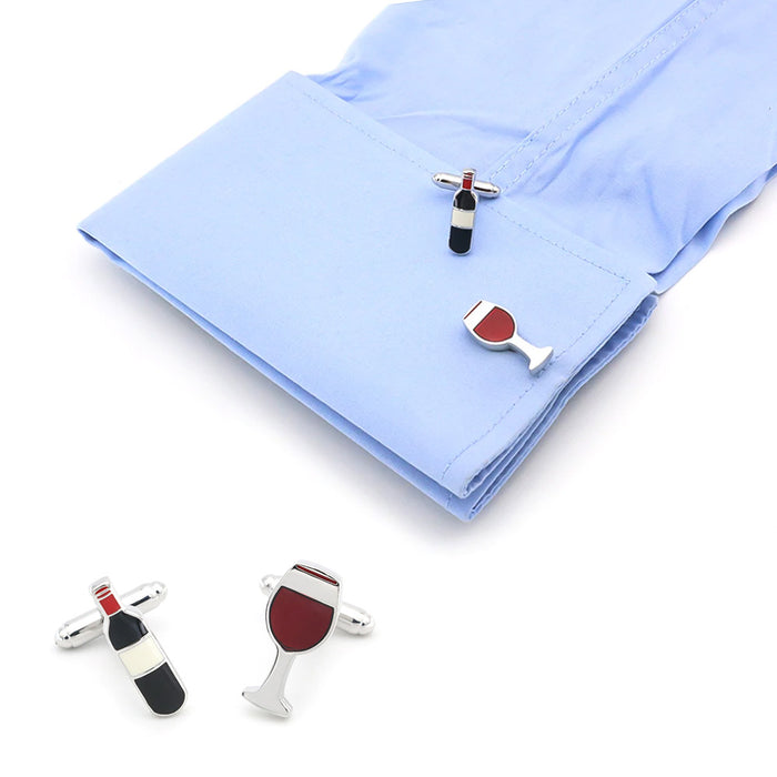 Wine Bottle Cufflinks Glass Silver Image On Shirt Sleeve