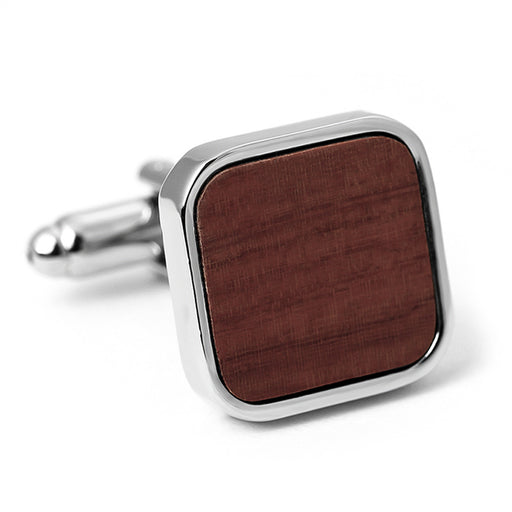 Rounded Square Brown Wood Cufflinks Silver Front