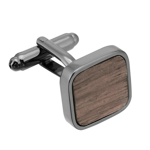 Walnut Wood Cufflinks Rounded Square Shape Gunmetal Black Front