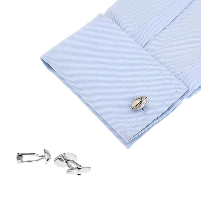 Rugby Ball Cufflinks Flat Design Silver Image On Shirt Sleeve