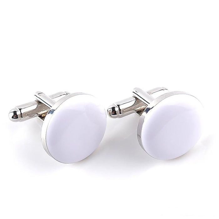 Silver Round Cufflinks White Resin Filled Image Pair