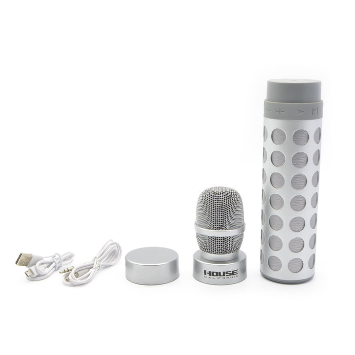 House California Music Bluetooth Speaker And Mic Silver Set