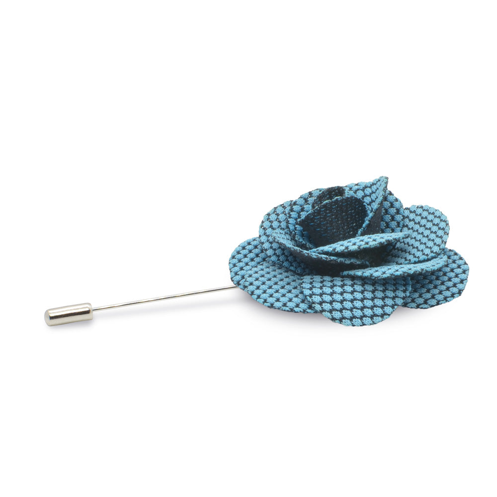 Lapel Pin - Flower (Cerulean Blue Dot Pattern on Black) | That Bloke