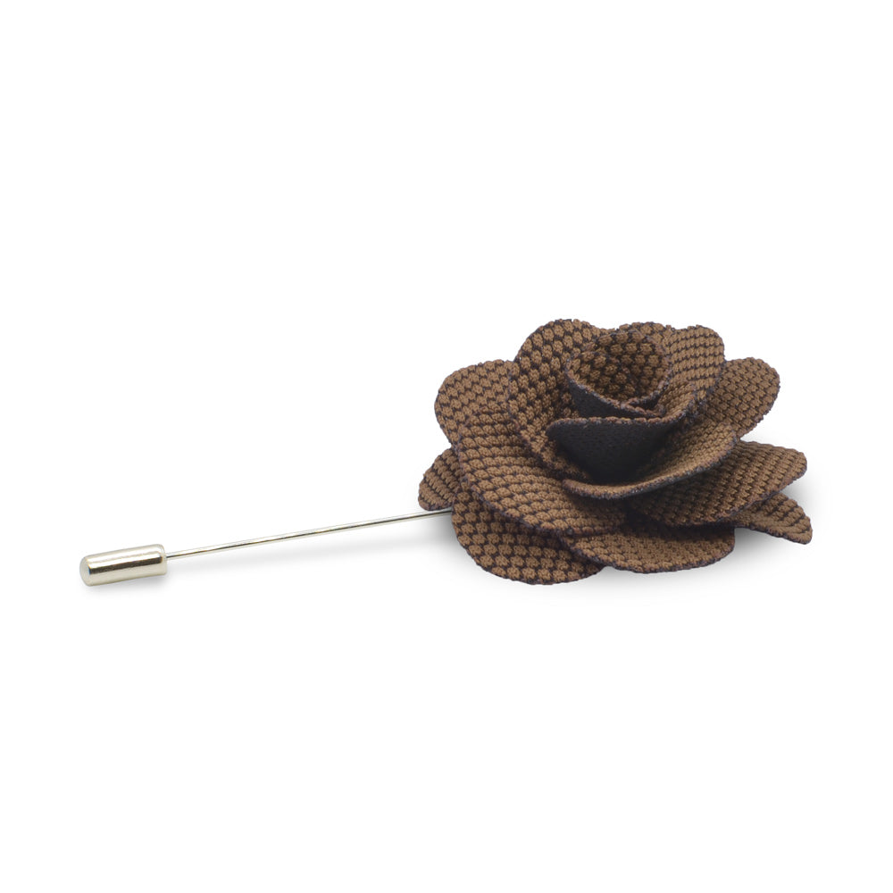 Lapel Pin - Flower (Brown Dot Pattern on Black) | That Bloke