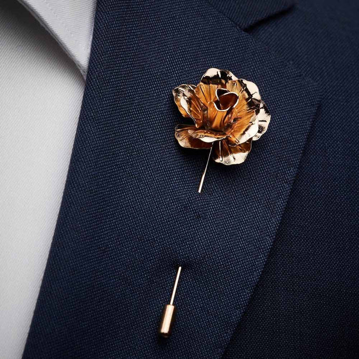 Lapel Pin - Flower (Gold Metal) | That Bloke