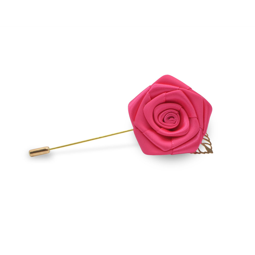 Lapel Pin - Rose with Gold Leaf (Hot Pink) | That Bloke