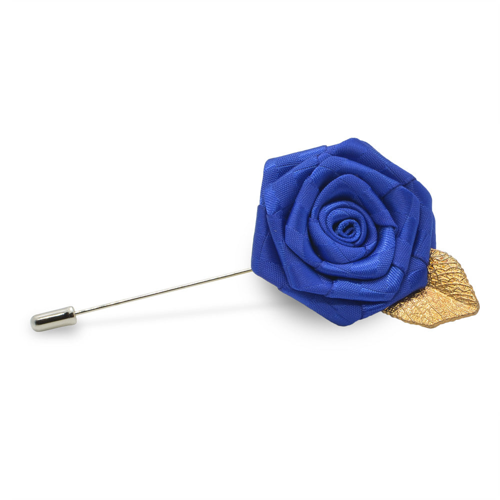 Lapel Pin - Rose with Gold Leaf (Royal Blue) | That Bloke