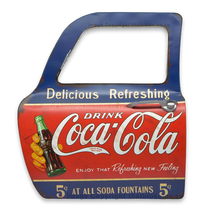 Coca-Cola Logo Retro Metal Car Door Man Cave Decor