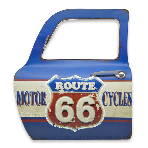 Retro Route 66 Metal Car Door Sign Man Cave Decor