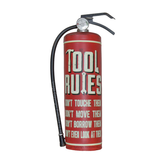 Tool Rules Retro Fire Extinguisher Metal Sign