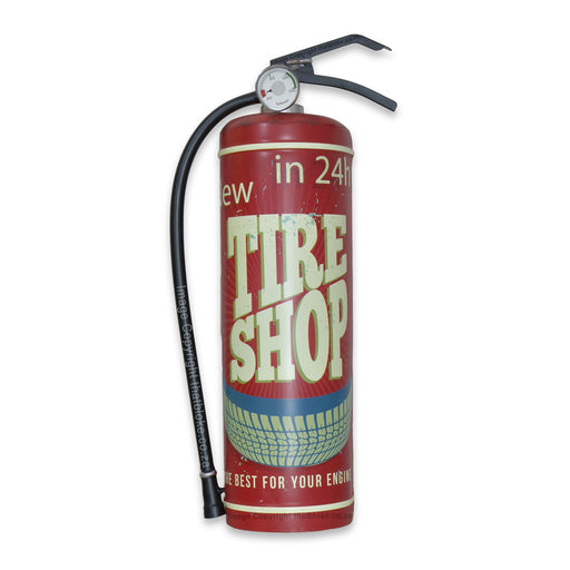 Retro Car Tire Shop Fire Extinguisher Metal Sign