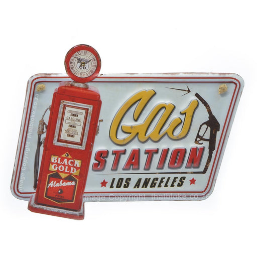 Gas Station Metal Sign of Petrol Pump For Man Cave Los Angeles