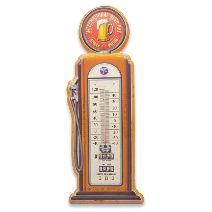 Retro Filling Station Petrol Pump Thermometer Metal Sign For Man Cave International Beer Day