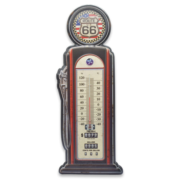 Retro Filling Station Petrol Pump Thermometer Metal Sign For Man Cave Route 66