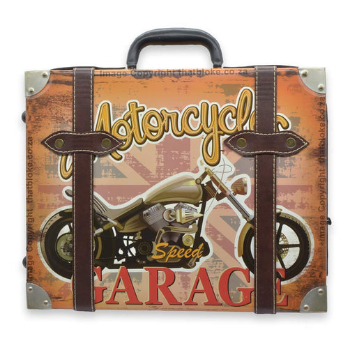 Large Motorcycle Suitcase Metal Sign For Man Cave or Bar