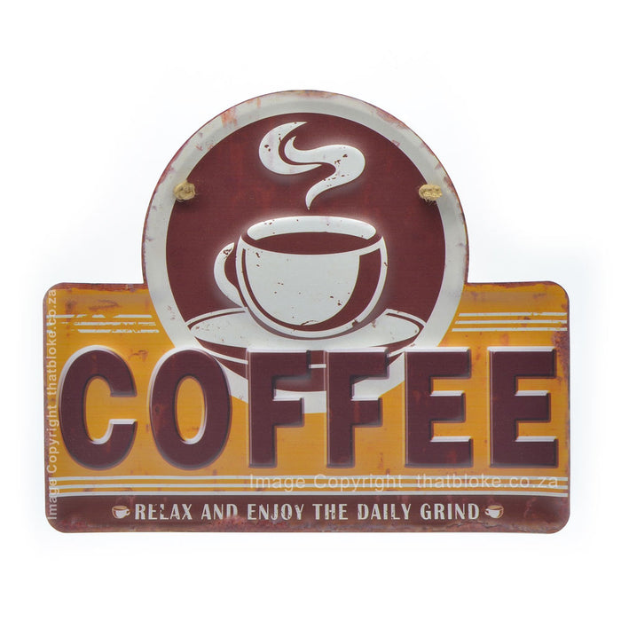 Daily Grind Coffee Metal Sign Brown and Mustard