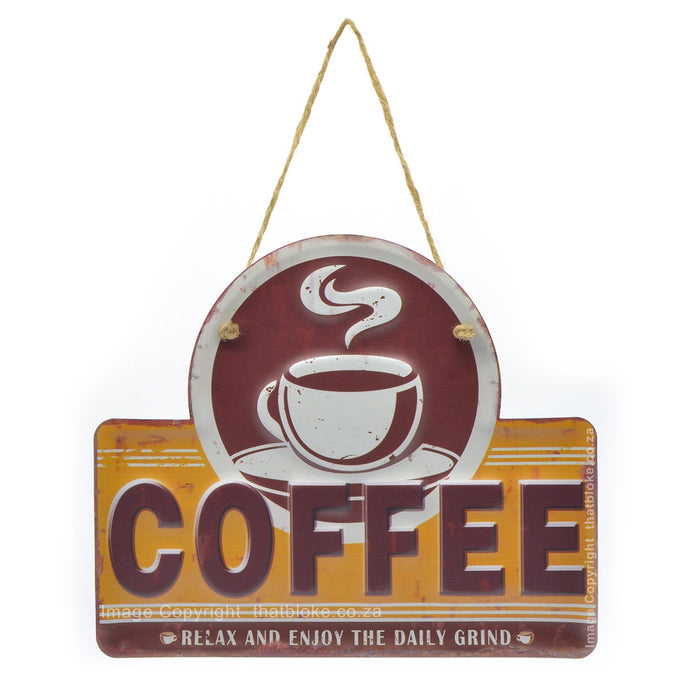 Daily Grind Coffee Metal Sign Brown and Mustard Hanging