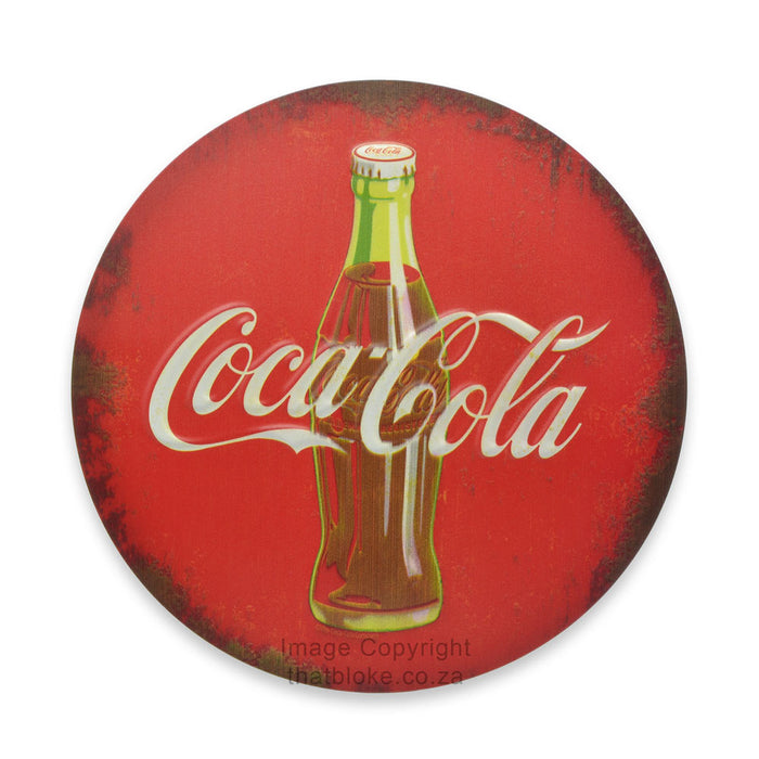 Round Metal Sign - Coca-Cola Bottle (Red)