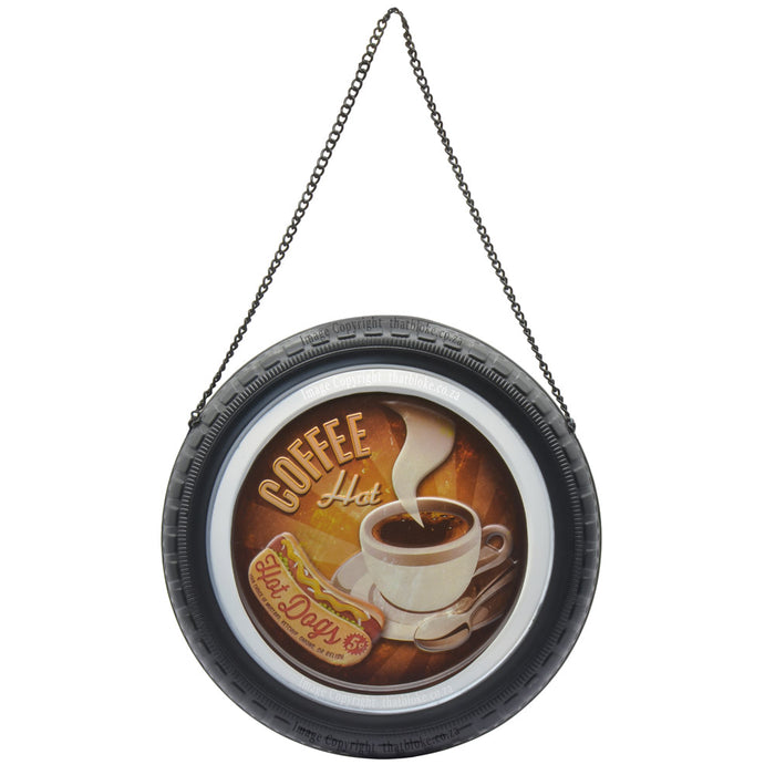 Round Retro Car Wheel Metal Sign for Man Cave Coffee & Hot Dogs