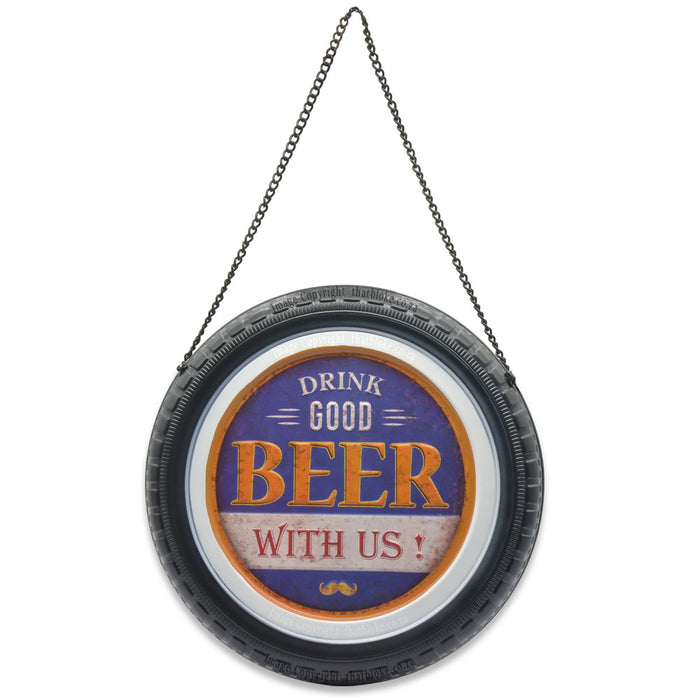 Round Retro Car Wheel Metal Sign for Man Cave Drink Good Beer With Us