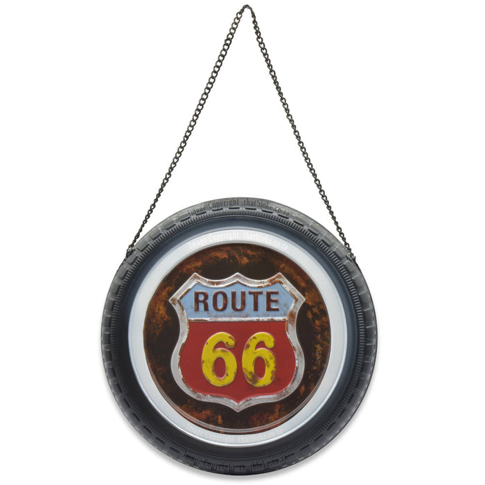 Round Retro Car Wheel Metal Sign for Man Cave Route 66